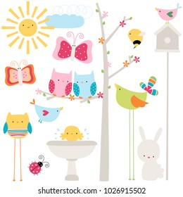 Cute Easter themed animal scene with bunnies, birds and insects.