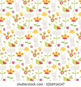 Cute Easter themed background with flowers, bunnies birds and chicks.