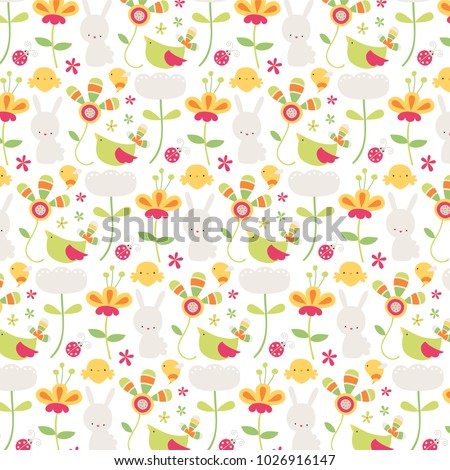 cute easter themed background flowers bunnies stock vector royalty