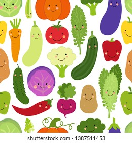 Cute Eat Veggies seamless background with smiling cartoon characters of vegetables