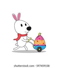 Cute eater bunny cartoon vector design