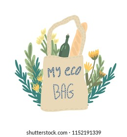 Cute eco bag drawn in vector