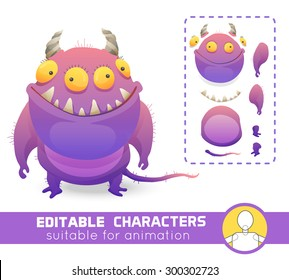 Cute editable monster. Evil with 4 eyes, teeth and smile. Suitable for animation, video and games. Neutral, negative or positive editable character. You can change color, position of body parts, dress