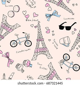 Cute Eiffel Tower vector background.  Seamless textile illustration.