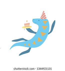 Cute Elasmosaurus Dinosaur in Party Hat, Funny Colorful Dino Character, Happy Birthday Party Design Element Vector Illustration