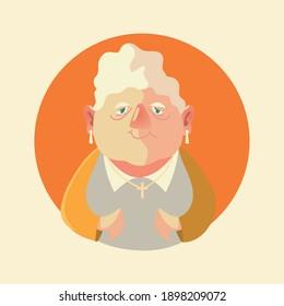 cute elderly woman, grandmother female senior cartoon vector illustration