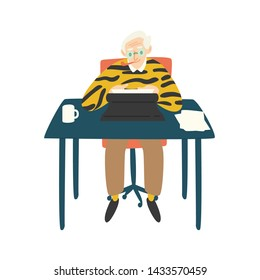 Cute elderly writer, critic or novelist siting at desk, smoking pipe and working on typewriter. Author writing book. Funny old man enjoying his hobby. Flat cartoon colorful vector illustration.