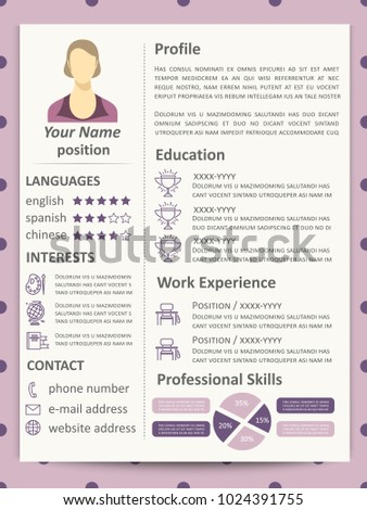 Cute Elegance Female Resume Template With Infographics Elements And Line Icons Vector Illustration