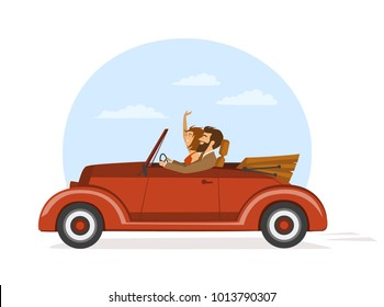 cute elegant couple on a roadtrip in vintage retro car