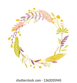 Cute and elegant vector floral round frame. Pastel tone plant circle badge and emblem. Summer and spring wreath.