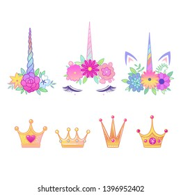 Cute elements for dream collection of magic crowns, flower and unicorn horn frames. Isolated vector illustration.