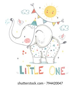 ba7a7de7d Cute elephant baby boy. cartoon hand drawn vector illustration. Can be used  for baby