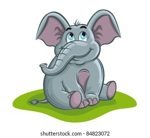 Cute elephant baby in cartoon style for design. Rasterized version also available in gallery