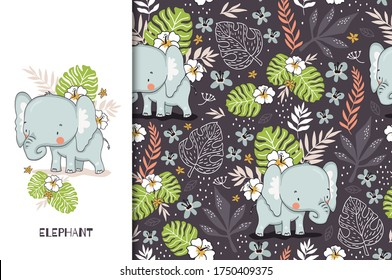Cute elephant baby with floral backdrop. Jungle animal cartoon character. Alphabetical Kids card print template and seamless background pattern. Hand drawn fabric surface design.