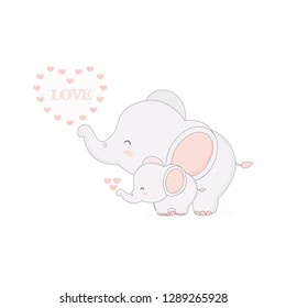 Cute elephant and baby vector illustration.