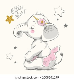 Cute elephant ballerina cartoon hand drawn vector illustration. Can be used for  t-shirt print, kids wear fashion design, baby shower celebration greeting and invitation card.