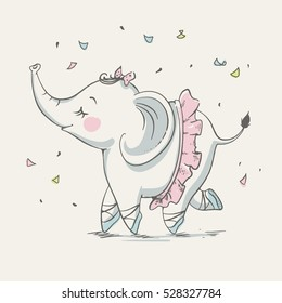 Cute elephant ballerina cartoon hand drawn vector illustration. Can be used for t-shirt print, kids wear fashion design, baby shower invitation card.