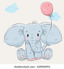 Cute elephant with balloon cartoon hand drawn vector illustration. Can be used for t-shirts print, fashion print design, children's clothing, baby shower, holiday greeting and invites.