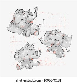 Cute elephant with balloon hand drawn vector illustration. Can be used for t-shirt print, kids wear fashion design, baby shower invitation card.