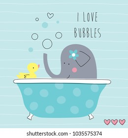 cute elephant bathing in tub with duck vector illustration