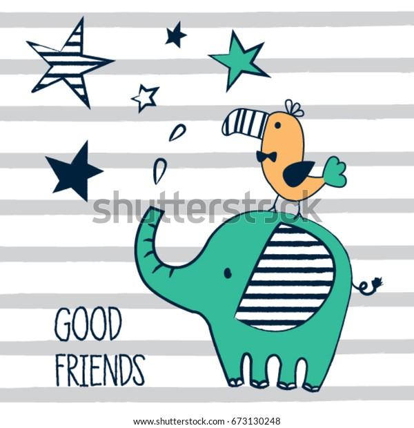 Cute Elephant Bird Cartoon Good Friends Stock Vector