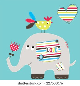 cute elephant with bird vector illustration