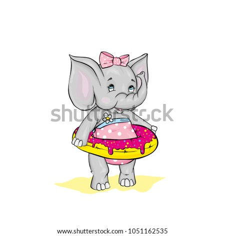 e1b4cb6a50 Cute Elephant Bow Swimsuit Swimming Circle Stock Vector (Royalty ...