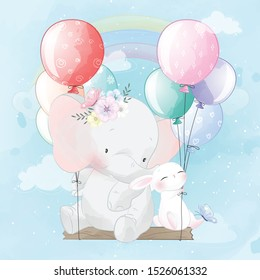 Cute elephant and bunny flying with balloon