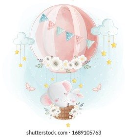 Cute Elephant and Bunny Flying With Hot Air Balloon