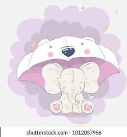 Cute elephant cartoon hand drawn vector illustration. Can be used for print t shirts baby, design print fashion socks kids, congratulations celebrations baby shower cards and invitations.
