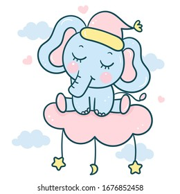 Cute elephant cartoon on cloud Kawaii animal vector for sweet dream baby shower boy, doodles. Perfect for kids greeting card design and Print for t-shirt. Romantic hand drawing or decoration child.