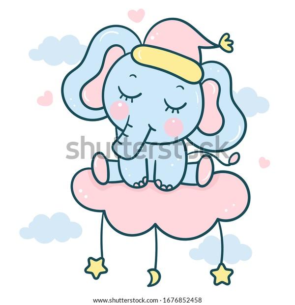 Vector De Stock Libre De Regalias Sobre Dibujo De Elefantes En La Nube1676852458
