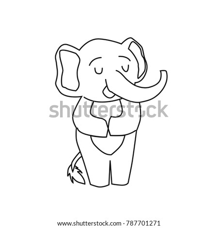 Cute Elephant Coloring Children Black White Stock Vector (Royalty ...