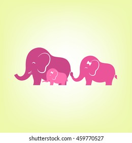 Cute elephant family, parents and children were walking together happily. vector, illustration.