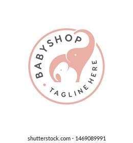 cute elephant family vector for baby shop logo design