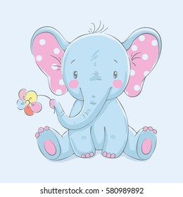 Cute elephant with a flower cartoon hand drawn vector illustration. Can be used for t-shirt print, kids wear fashion design, baby shower invitation card.