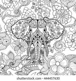 Cute elephant in flower garden. Animals. Hand drawn doodle. Ethnic patterned illustration. African, indian, totem tatoo design. Sketch for avatar, tattoo, poster, print or t-shirt.