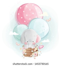 Cute Elephant Flying with Balloons