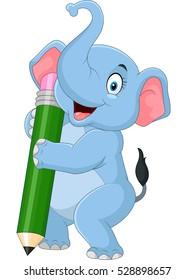 Cute elephant holding pencil