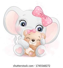 Cute elephant hugging a little bear illustration