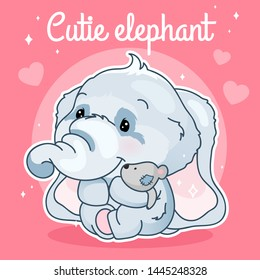 Cute elephant kawaii character social media post mockup. Cutie elephant lettering. Positive poster template with animal hugging plush toy. Social media content layout. Print, kids book illustration
