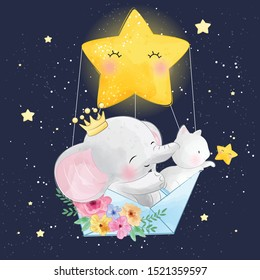 Cute elephant with kitty flying in space