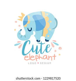 Cute elephant logo design, emblem can be used for kids education center, baby shop, club, kids market, kindergarten and any other children projects vector Illustration