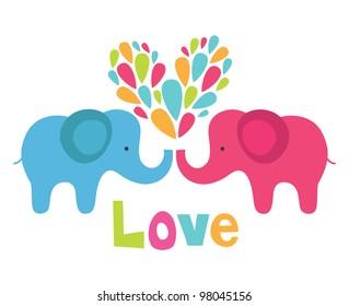 cute elephant in love. vector illustration