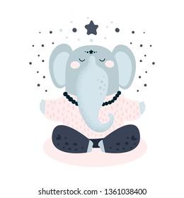 Cute elephant meditation. Flat hand drawn illustration. Animal yoga cartoon character. Fitness exercise, meditation,  gym, pilates, yoga classes isolated design element. Card, poster, print, textile