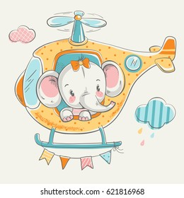 Cute elephant on a helicopter cartoon hand drawn vector illustration. Can be used for t-shirt print, kids wear fashion design, baby shower invitation card.