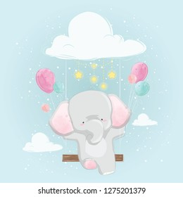 Cute Elephant on the Swinger