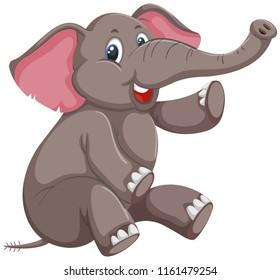 A cute elephant on white background illustration