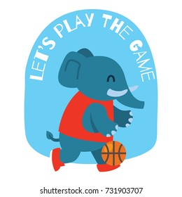 Cute elephant playing basketball. Cute animal series for kid. Cute and funny animal t shirt design for kid.
