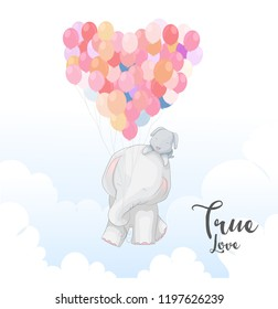 Cute elephant romantic couple with coloeful balloon